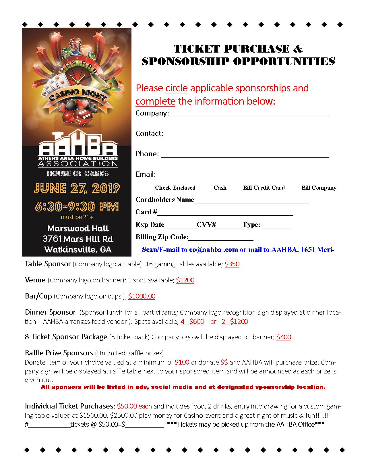 Casino Night Sponsorship & Ticket Purchase Flyer