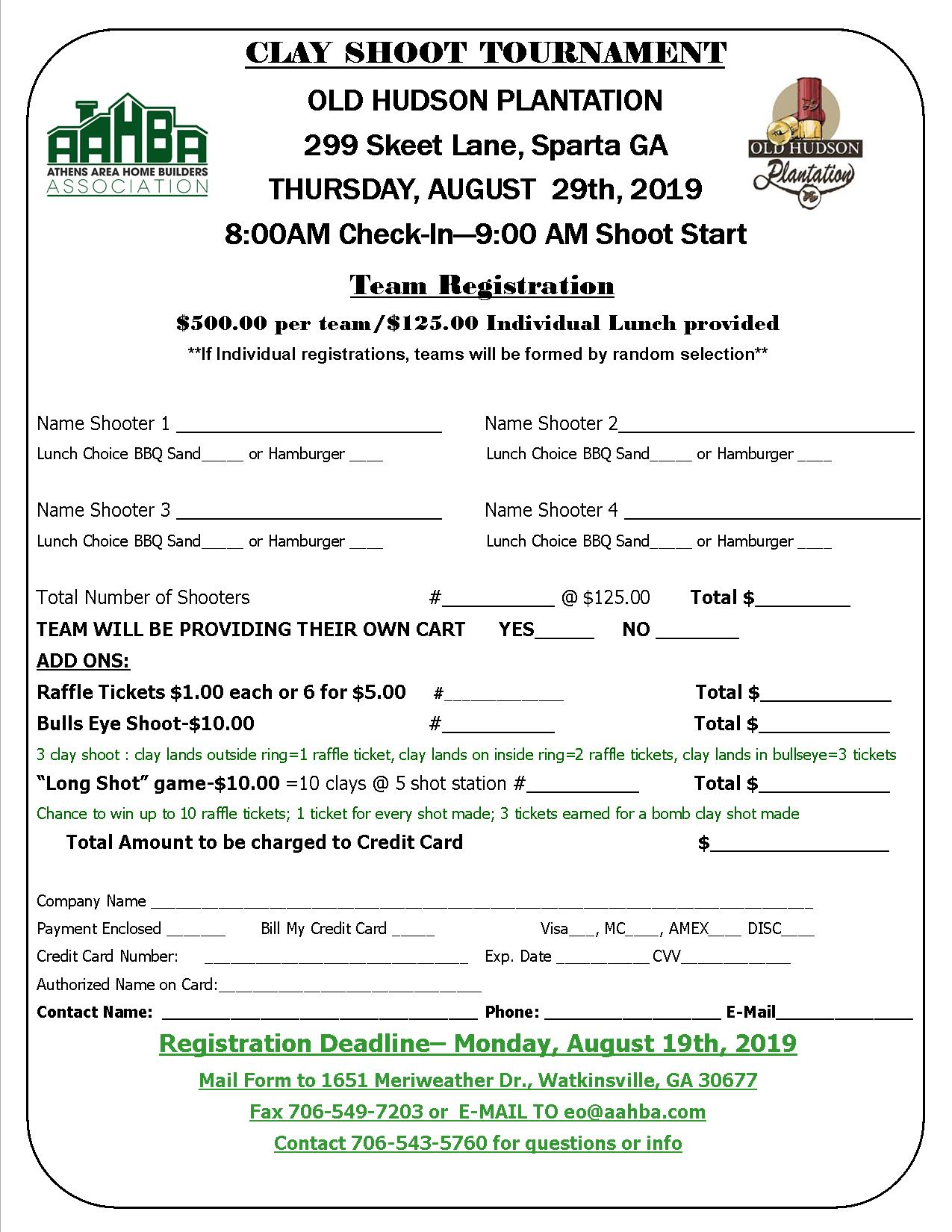 Clay Shoot Team-Shooter Registration Form