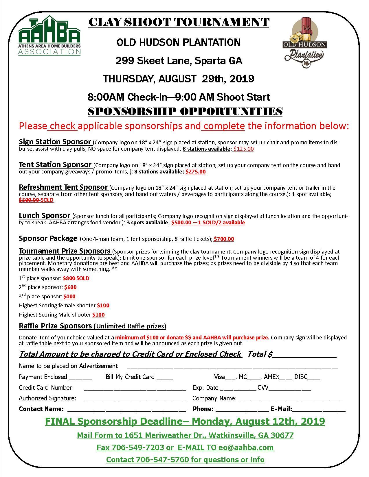Sporting Clay Shoot Sponsorships Form