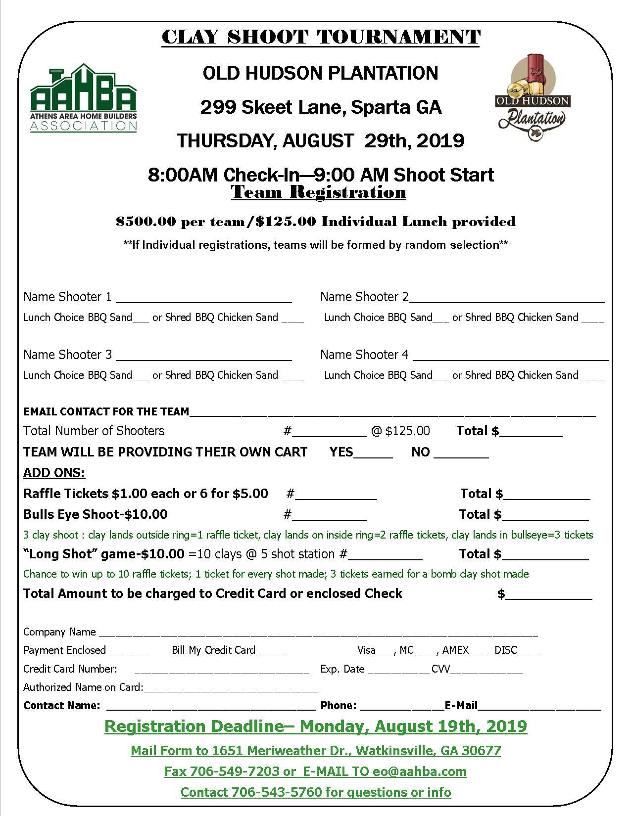 Sporting Clay Shoot Team Registration Form