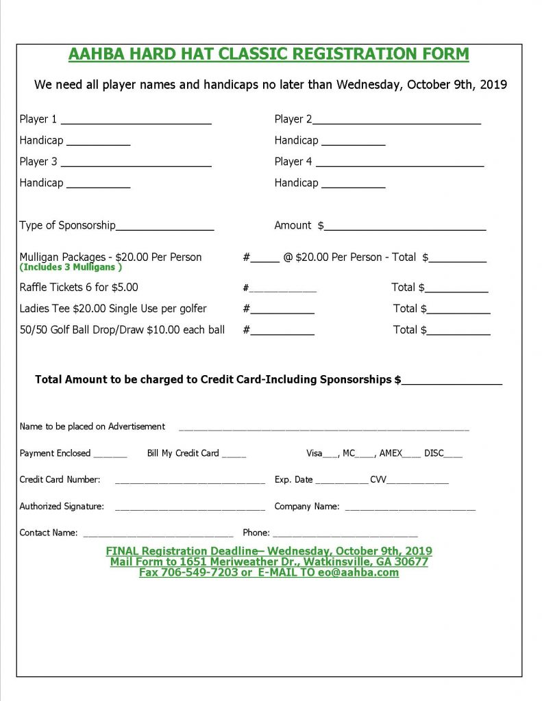 2019 Fall AAHBA Hard Hat Classic Team registration
