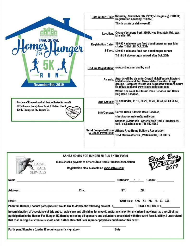 AAHBA Homes For Hunger Registration Form
