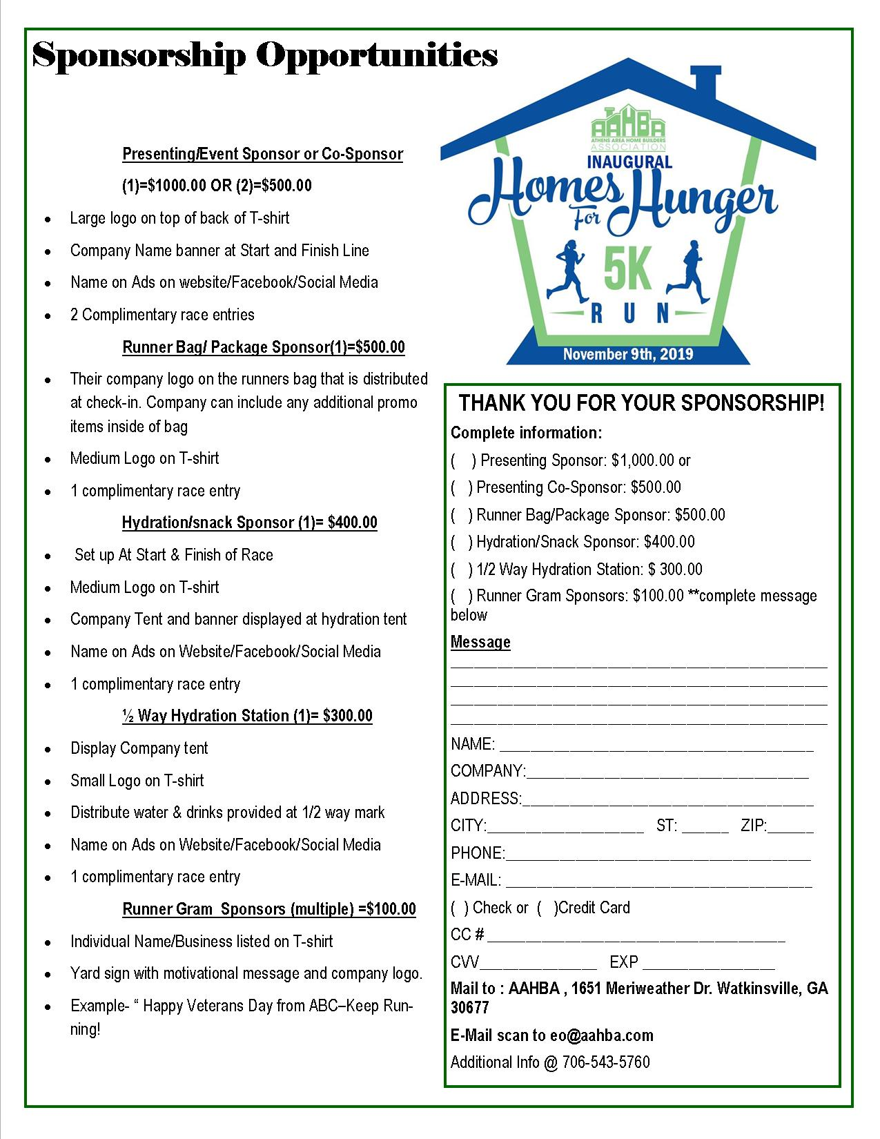 AAHBA Homes For Hunger Sponsorship Form