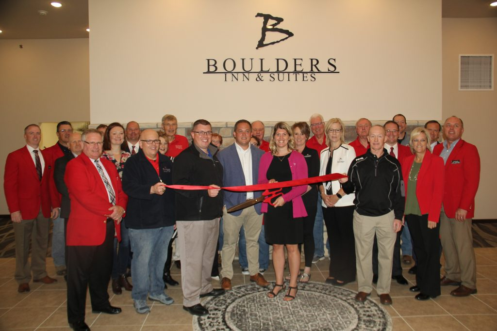 Tim Stuart, CEO of Boulders Inn & Suites (1900 Lakewood Drive) along with City Officials, Staff and Chamber Ambassadors celebrated the opening with a ribbon cutting on September 25.