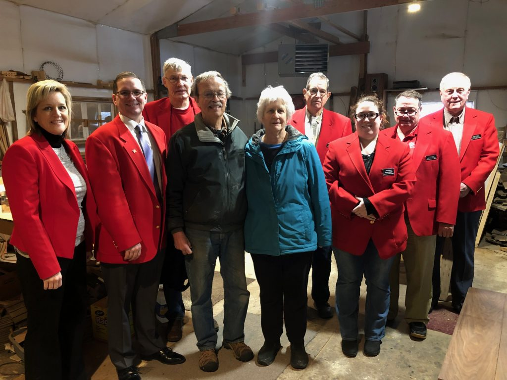 On January 8, Chamber Ambassadors hosted a courtesy call with owners Tom & Helen Eddy at Eddy's Sawmill & Furniture Repair (1084 115th Road).