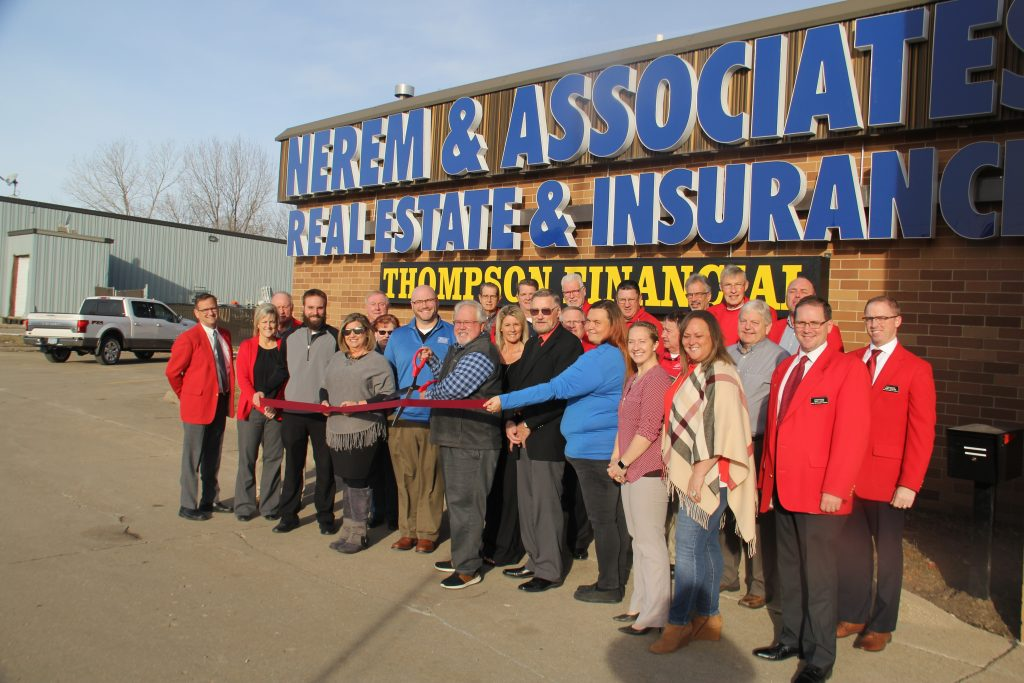 John Nerem owner, staff and Chamber Ambassadors celebrated the opening of the new Nerem & Associates Real Estate & Insurance location (1215 SE Marshall Street) with a ribbon cutting on December 11.