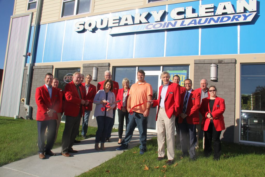 Owners Shane & Christine Heintz and Chamber Ambassadors celebrated the opening of Squeaky Clean Laundromat (427 Story Street) with a ribbon cutting on October 16.