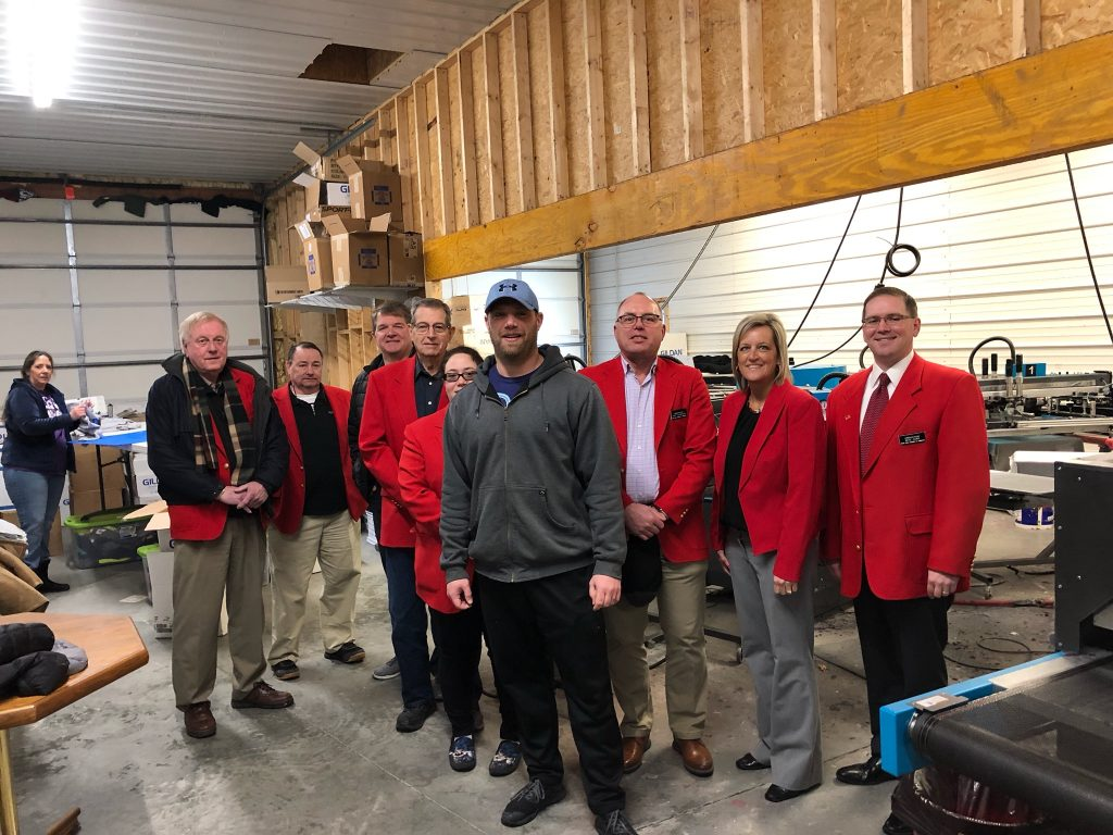Chamber Ambassadors visited with Eric Carlson, Owner of 905 Ink (1812 Factory Street) during a courtesy call on February 26.