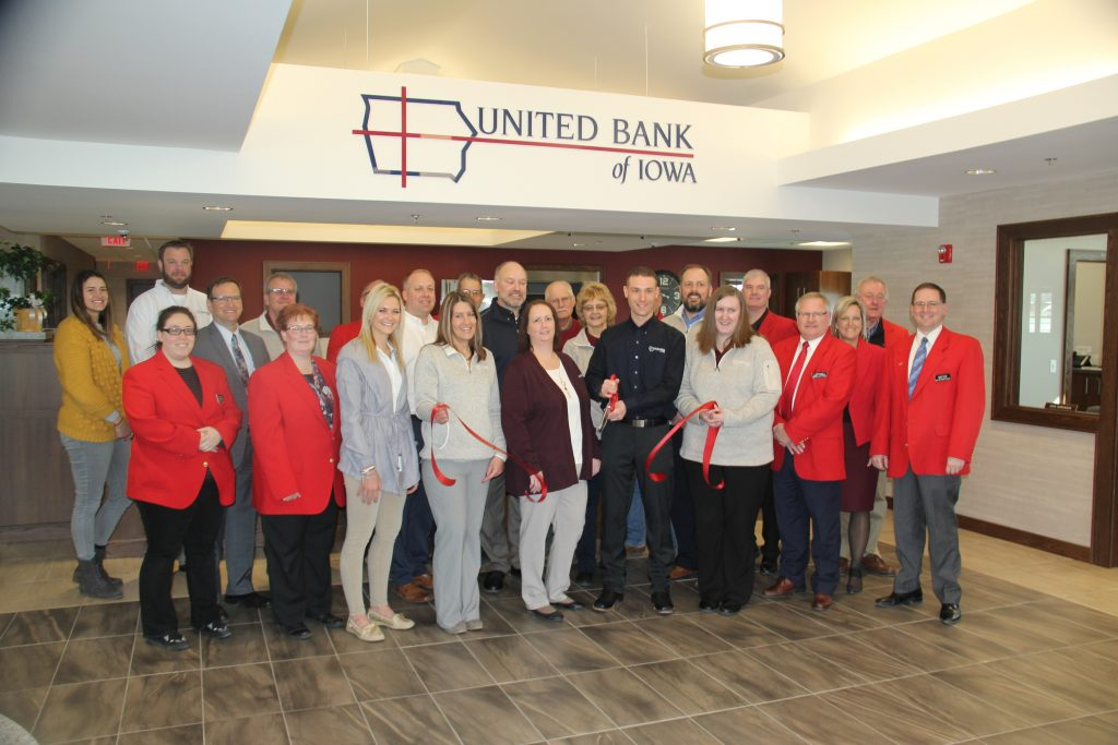 Chamber Ambassadors, Andy Hunziker, and staff celebrated the opening of United Bank of Iowa (1609 Hawkeye Drive) with a ribbon cutting held on March 5.