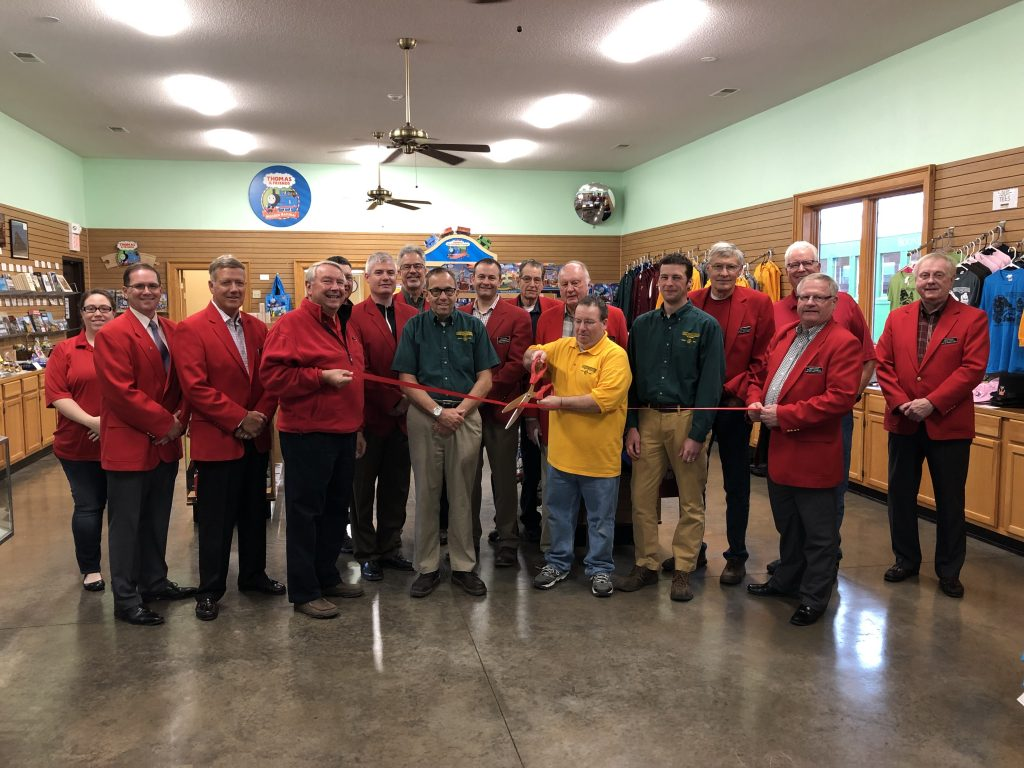 General Manager Travis Stevenson, staff of Boone & Scenic Valley Railroad (225 10th Street), and Chamber Ambassadors celebrated recent renovations to the gift shop with a ribbon cutting on April 30.