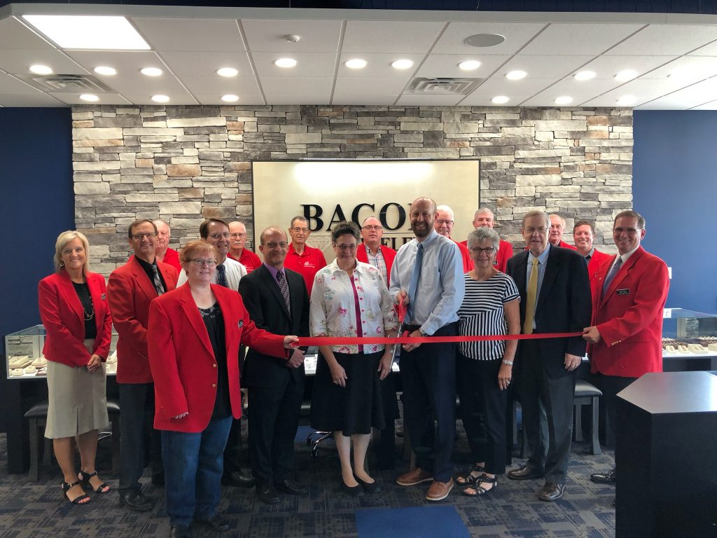 On July 23, Chamber Ambassadors along with Ed & Carol Bacon and staff of Bacon Jewelers cut the ribbon on the businesses new location (1217 SE Marshall St).