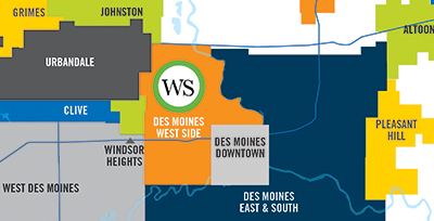 Des Moines West Side map