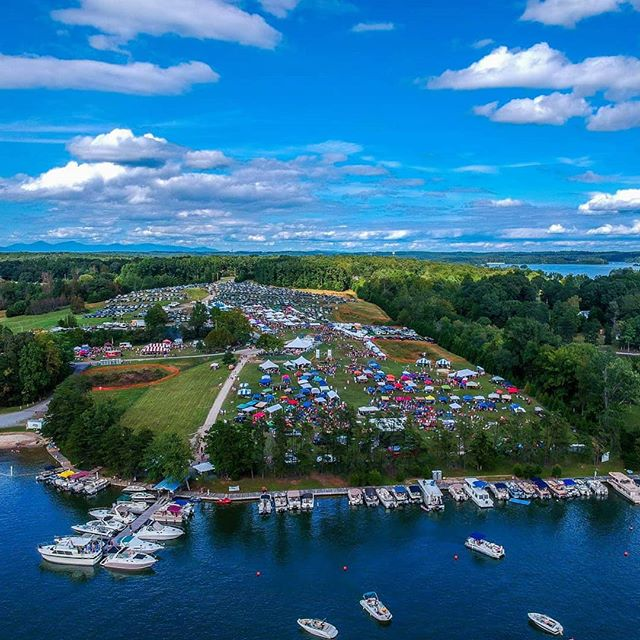 An aerial of the Smith Mountain Lake Wine Festival by Star City Skycams