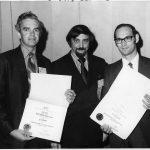 Art Elias (center) presenting Best JASIS Paper Award to James E. Rush and R. Salvador