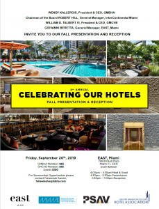 GMBHA Celebrating our Hotels at EAST, Miami 9.20.2019