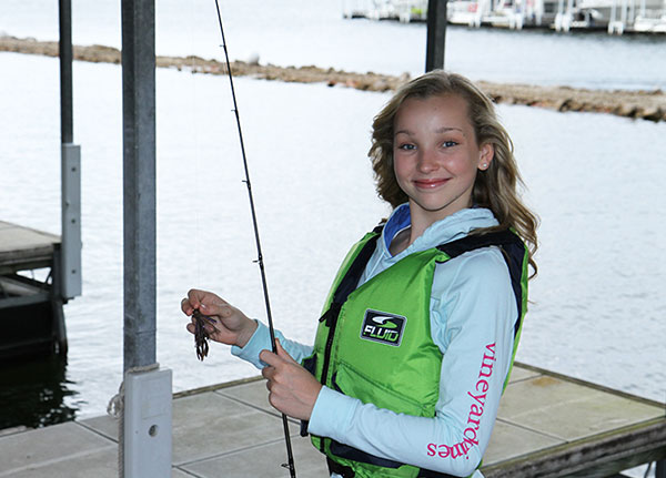 Girl with new fishing pole