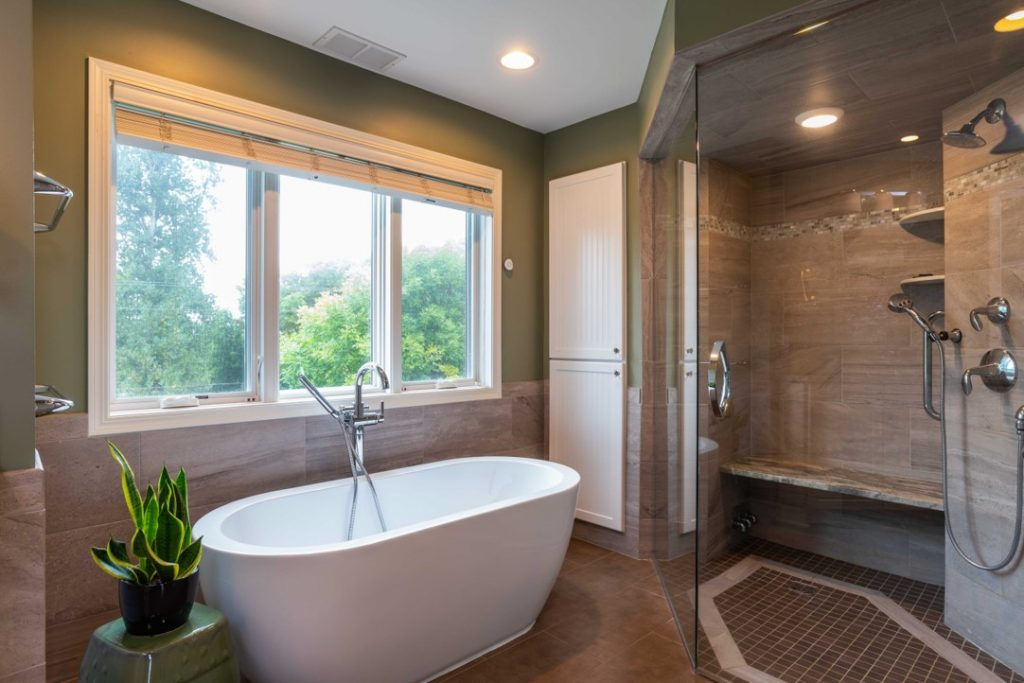 Bathroom remodel featuring soaking spa tub