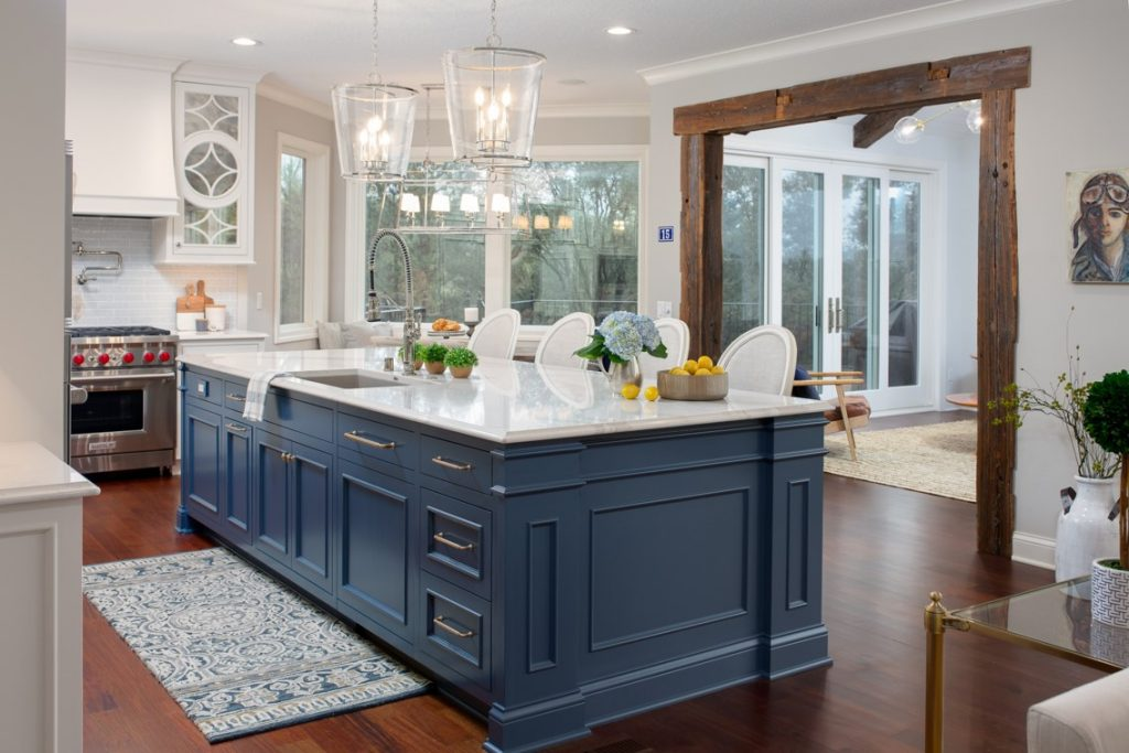 Kitchen remodel featuring large island