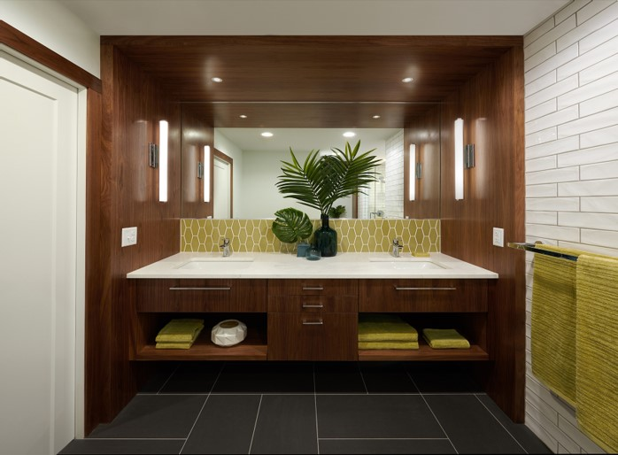 Bathroom remodel featuring his and hers sinks