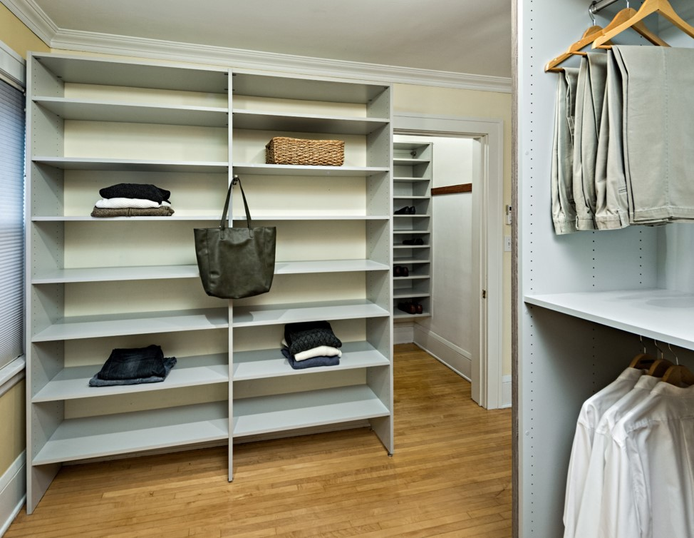 Closet remodel featuring shelf space