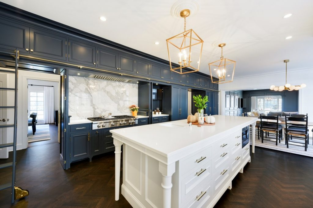 Kitchen remodel featuring cabinets and large island