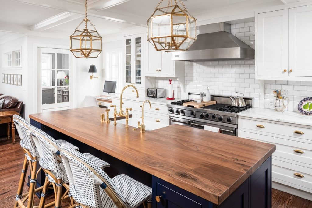 Kitchen remodel featuring custom island