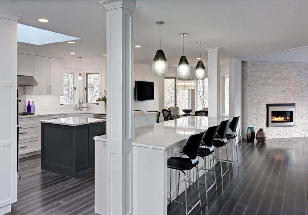 Kitchen remodel featuring breakfast bar