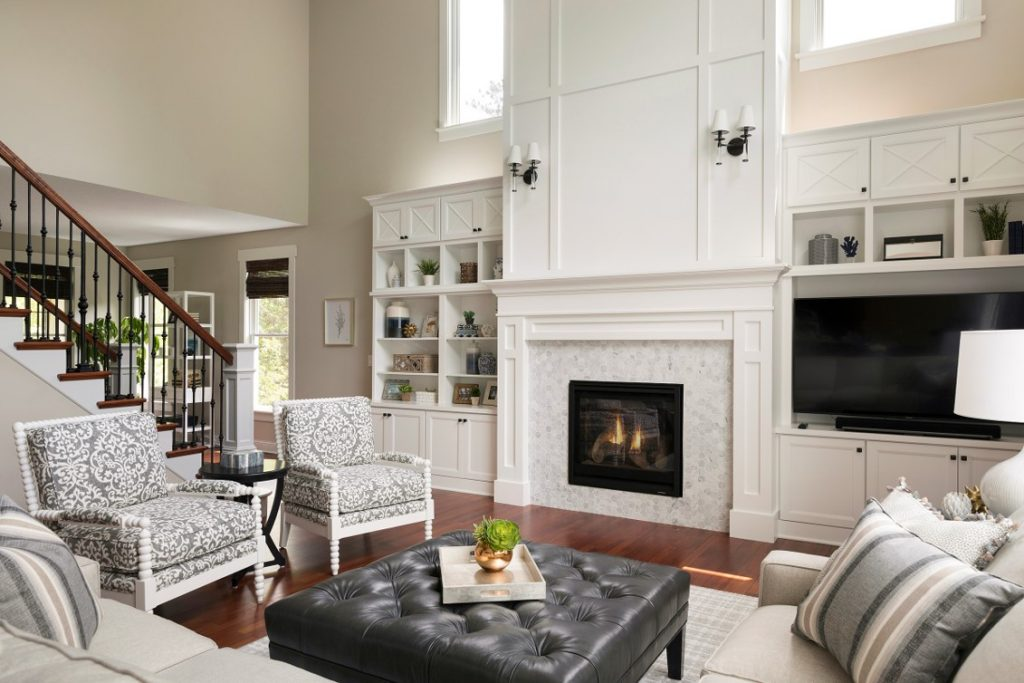 Living room remodel featuring fireplace